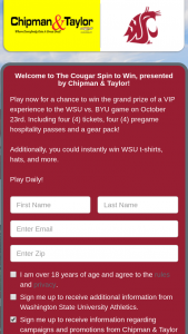 Cataboom Chipman & Taylor Chevrolet – Washington State Pin To Win – Win pack including Two WSU t-shirts Two WSU polos Two WSU hats and Two WSU pullovers The average retail value of the grand prize is $1000.00.