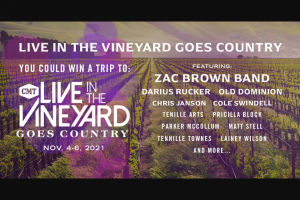 CMT After Midnite With Cody Alan – Live In The Vineyard Goes Country Flyaway – Win a three day/two night trip for Winner and guest to attend Live in the Vineyard Goes Country November 4-6  2021 in NAPA Valley