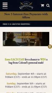 Colonel Littleton – Lazy Labor Day Giveaway Sweepstakes