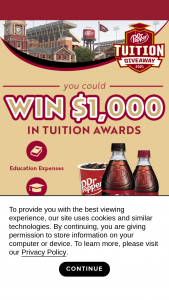 Dr Pepper/seven Up – Dr Pepper Zero Instant Win & Sweepstakes