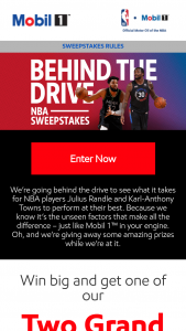 Exxonmobil – Behind The Drive Mobil 1 Nba Sweepstakes