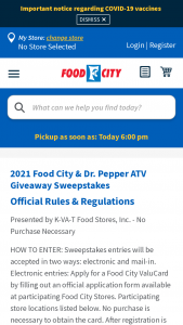Food City & Dr Pepper – Atv Giveaway – Win a brand new 2021 ATV (All-Terrain Vehicle).