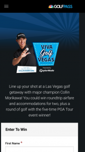 Golfpass – Viva Golf Vegas – Win will consist of a trip for Winner and one guest to Las Vegas Nevada to play a round with Collin Morikawa