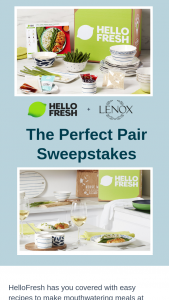Hellofresh – Perfect Pair – Win prizes within 4-6  weeks after winner selection via mail at the address provided during registration