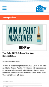 HGTV Magazine – Behr 2022 Color Of The Year – Win a $500 paint gift card