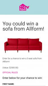 HGTV – 2021 October Birthday Sofa – Win Allform 3-seat sofa (ARV $2500.