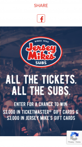 Jersey Mike's – Tickets & Subs – Win of $3000 in Jersey Mike's gift cards
