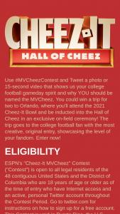 Kellogg Company – Espn's Cheez-It Mvcheez Contest – Twitter – Win one (1) varsity-style Hall of Cheez jacket