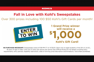 Kohl's – Fall In Love With Kohl's – Win a $1000 Kohl's e-Gift Card redeemable at any Kohl's store or on-line at wwwkohlscom