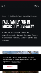 Nashville's Convention & Visitors Corp – Fall Family Fun In Music City Giveaway Sweepstakes