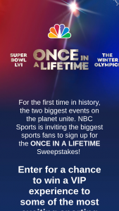 NBC Sports Group – Once In A Lifetime Sweepstakes