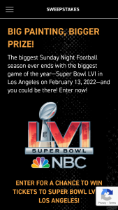 NBC Sports Group – Sunday Night Football Canvs Superbowl – Win consist of the following two (2) tickets to Super Bowl LVI in Los Angeles CA on February 13 2022 and two (2) tickets to a Super Bowl LVI Experience event