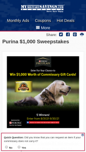 Nestle Purina Petcare – $1000 – Win will be awarded $1000 in Commissary gift cards