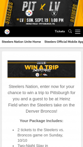 Pittsburgh Steelers – Win A Trip To Pittsburgh – Win a travel package to Pittsburgh