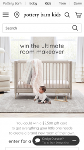 Pottery Barn Kids – Ultimate Room Makeover – Win One $2500.00 Pottery Barn Kids Gift Card