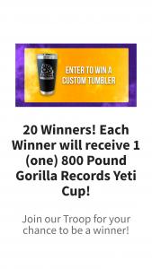 800 Pound Gorilla Records – Yeti Cup – Win 1 (one) 800 Pound Gorilla Records Yeti Cup