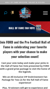 Pro Football Hall Of Fame – Hall Of Fame Fan Vote Sweepstakes