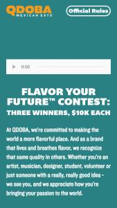Qdoba – Flavor Your Future Contest – Win a $10000 USD check