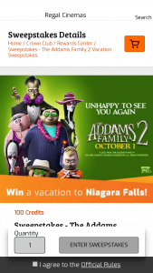 Regal Entertainment – Regal Crown Club The Addams Family 2 Vacation Sweepstakes