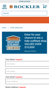 Rockler – Dream Shop Giveaway Sweepstakes