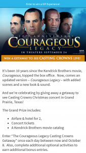 Salem Media – Courageous Legacy Casting Crowns Getaway – Win one trip for two to Grand Prairie