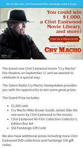 Salem Media – Cry Macho – Win $1000.00 USD