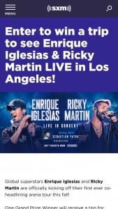 Siriusxm – Enrique Iglesias & Ricky Martin Live Sweepstakes