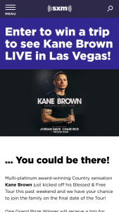 Siriusxm – Kane Brown Blessed & Free Tour Sweepstakes