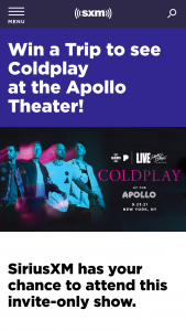 Siriusxm – Small Stage Series Coldplay At Apollo Theater Sweepstakes