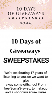 Soma – 10 Days Of Giveaways Sweepstakes