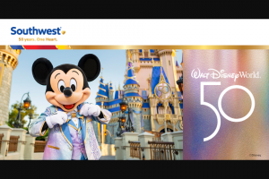 Southwest Airlines – 50 Days Of Giveaways – Win a vacation package to the Walt Disney World Resort