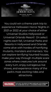 Spirit Halloween Superstores – Halloween Horror Nights Sweepstakes