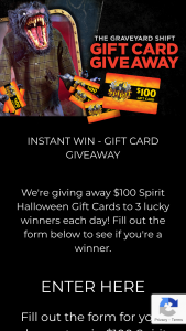 Spirit Halloween – The Graveyard Shift Gift Card Giveaway Sweepstakes