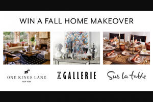 Sur La Table – Fall Home Makeover – Win a $1500 credit to One Kings Lane