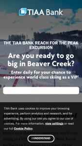 Tiaa Bank – Reach For The Peak Excursion Sweepstakes