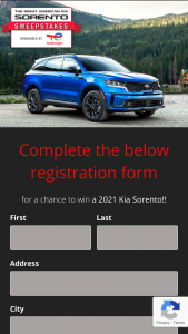 Total Specialties – Great American Kia Sorento – Win a Kia purchase certificate with a maximum value of the MSRP of the featured vehicle