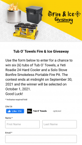 Tub O' Towels – Fire & Ice Giveaway – Win One (1) case of Tub O' Towels Heavy Duty Cleaning Wipes (SKU# TW90) that contains six (6) 90-count tubs shipped directly to the winner's address