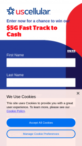 Uscellular – 2021 $5g Fast Track To Cash Q3 – Win awarded consisting of the following One (1) check for $5000 payable to winner