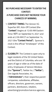 """Verizon Wireless – 5g Superfan Nfl Kick-Off Contest – Twitter – Win one for Winner and one for a guest (""""Guest"""") to each attend the Super Bowl for the 10 years from 2022 through 2032."""