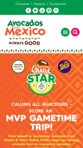 Avocados From Mexico – Gametime Guacstar – Win choice GuacSTAR accommodations and so much more