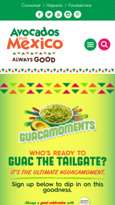 Avocados From Mexico – Guac The Tailgate – Win Each grand prize is $50000 that winner may use towards an Ultimate Tailgate truck