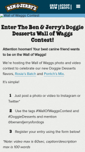 Ben & Jerry's – Wall Of Waggs Contest & – Win and dog house