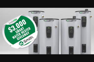 Bob Vila – $3000 Smart Water Heater Giveaway – Win one prize package from AO Smith