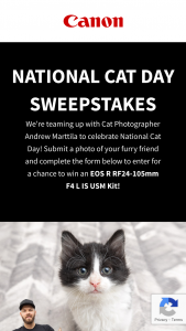 Canon USA – National Cat Day – Win is One EOS R RF 24-105mm F4 L IS USM Kit (approx
