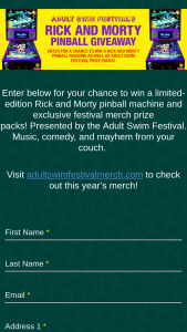 Cartoon Network – Adult Swim Festival's Rick And Morty Pinball Giveaway – Win a Rick and Morty pinball machine