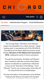 Chicago Bears – Monsters Of The Midway Trading Cards – Win will be selected each Entry Period to win a full set of the 2021 Monsters of the Midway Trading Cards