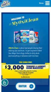 """Church & Dwight – Oxiclean #myoxiclean – Win one (1) gift card in the amount of $3000.00 (approximate retail value (""""ARV"""") of the prize $3000.00)."""