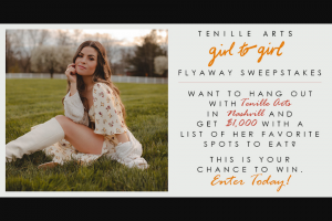 CMT -Tenille Arts Girl To Girl Nashville Flyaway – Win a three day/two night trip for Winner and (1) guest to Nashville