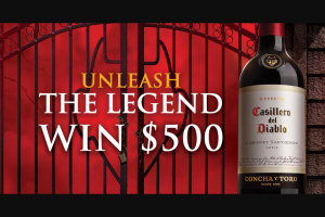 Fetzer Vineyards – Casillero Del Diablo Unleash The Legend Halloween – Win drawn from all eligible entrants and awarded a VISA® Gift Card in the amount of five hundred dollars ($500.00).