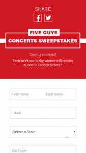 Five Guys – Concerts Sweepstakes